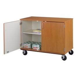 Counter-Height Mobile Shelf Storage Cabinet w/ Doors (Four Compartments)