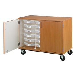 Counter-Height Mobile Tray Storage Cabinet w/ Lockable Doors - 18 Trays