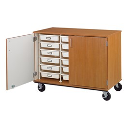 Counter-Height Mobile Heavy-Duty Tray Storage Cabinet w/ Lockable Doors