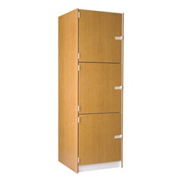 "Large Instrument Locker w/ Solid Doors - 3 Compartments (27"" D)"