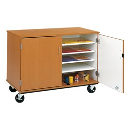 Counter-Height Mobile Shelf Storage Cabinet w/ Doors (10 Paper Compartments)