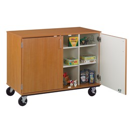 Counter-Height Mobile Shelf Storage Cabinet w/ Doors (10 Compartments)