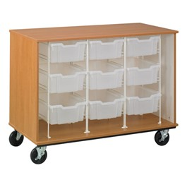 Counter-Height Mobile Tray Storage Cabinet - Shown w/ nine trays