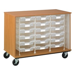 Counter-Height Mobile Tray Storage Cabinet - 18 Clear Trays