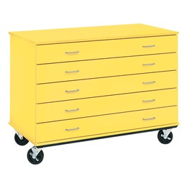 "Counter-Height Mobile Storage Unit - Five Drawers (24"" D)<br>Shown in Sun Yellow"