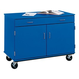 "Counter-Height Mobile Storage Unit - Two Doors & One Drawer (24"" D)<br>Shown in Royal Blue"