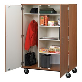 Mobile Wardrobe Storage Cabinet with Shelves