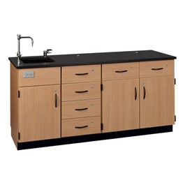 Instructor Island - Epoxy Top - Three Cabinets, Six Drawers
