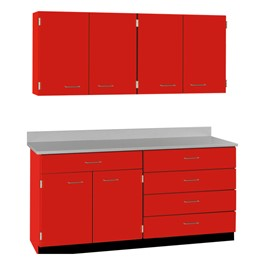 4-Door Wall Unit & 2-Door/5-Drawer Base Unit Cabinet Suite