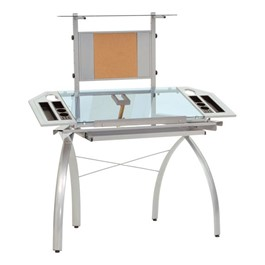 Futura Tower Table w/ Combo Magnetic/Cork Board - Silver/Blue Glass