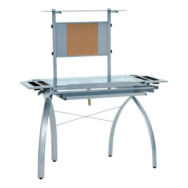 Futura Tower Table w/ Combo Magnetic/Cork Board - Silver/Blue Glass - Down