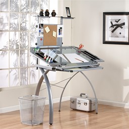 Futura Tower Table w/ Combo Magnetic/Cork Board - Silver/Blue Glass