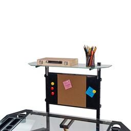 Futura Tower Table w/ Combo Magnetic/Cork Board - Black/Clear Glass - Corkboard detail