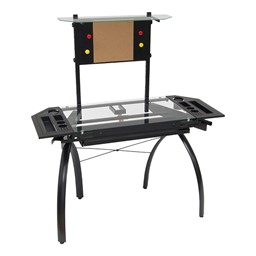 Futura Tower Table w/ Combo Magnetic/Cork Board - Black/Clear Glass - Down