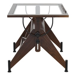 Aries Glass Top Drafting Table  - Side detail