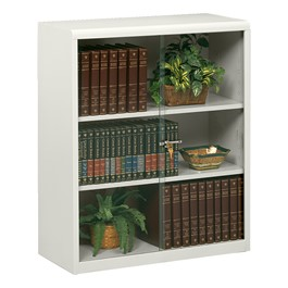 "Executive Bookcase w/ Glass Doors (42"" H) - Light Gray"