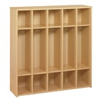 Eco Five-Section Locker Unit - Preschool Height w/o Trays - Maple Finish