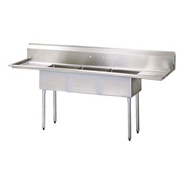 "Stainless Steel Compartment Sink (90"" W x 24\"" D x 44 1/2\"" H)"
