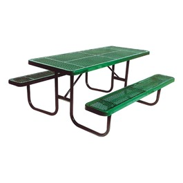 Rectangle Portable Preschool Outdoor Table - Round Perforation - Shown in green