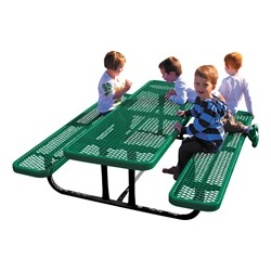 Rectangle Portable Preschool Outdoor Table - Diamond Expanded Metal - Shown in green