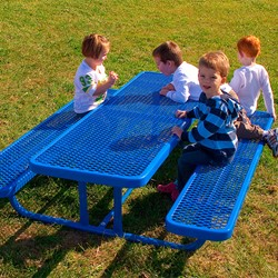 Rectangle Portable Preschool Outdoor Table - Diamond Expanded Metal - Shown in blue