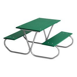 Colorful Portable Rectangle Preschool Picnic Table - Silver Frame