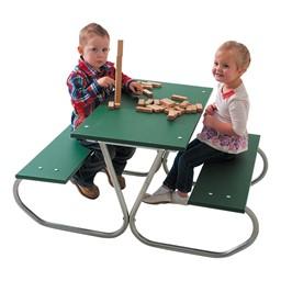 Colorful Portable Rectangle Preschool Picnic Table - Silver Frame