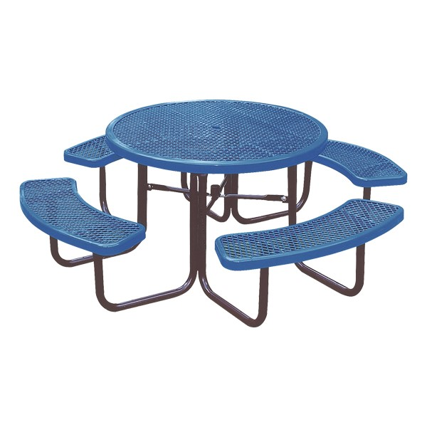 Round Heavy-Duty Picnic Table w/ Diamond Expanded Metal