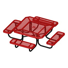 Octagon Portable Preschool Outdoor Picnic Table - Round Perforation