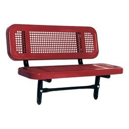 Outdoor Preschool Bench - Inground Mount (Round Perforation) - Shown in red