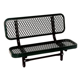 Outdoor Preschool Bench - Inground Mount (Diamond Expanded Metal) - Shown in black