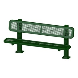 Bollard 961 Series Single-Sided Bench - Round Perforation w/ Surface Mount (8\' L)