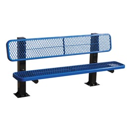 Bollard 961 Series Single-Sided Bench - Diamond Expanded Metal w/ Surface Mount (8\' L) - Blue