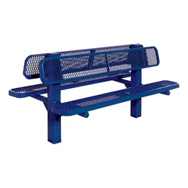 Bollard 961 Series Double-Sided Bench - Diamond Expanded Metal w/ Inground Mount (8\' L) - Blue