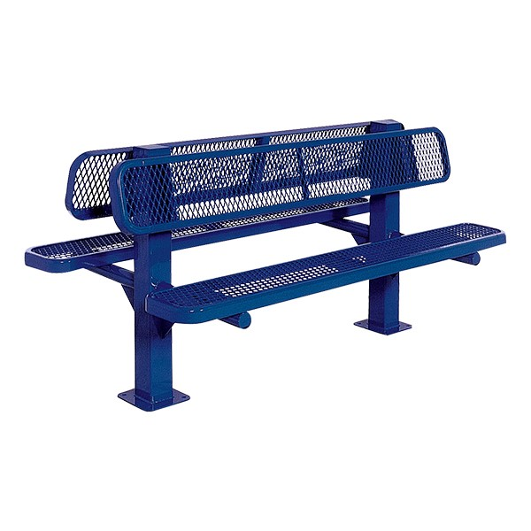 Bollard 961 Series Double-Sided Bench - Diamond Expanded Metal w/ Surface Mount (8' L) - Blue