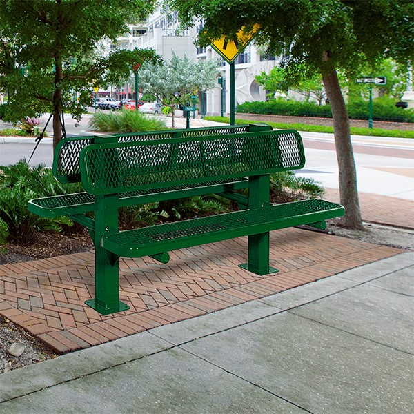 Bollard 961 Series Double-Sided Bench - Diamond Expanded Metal w/ Surface Mount (8' L) - Green - Environmental Shot