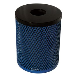 EX Series Diamond Expanded Metal Outdoor Trash Can - shown w/ open flat top lid - available for an additional cost