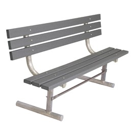 940 Series Traditional Three-Plank Portable Bench - Gray Recycled Plastic