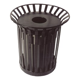 Lexington Outdoor Trash Can w/ Lid & Liner - Open Flat Top