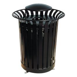Lexington Outdoor Trash Can w/ Lid & Liner - Rain Bonnet Top