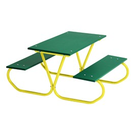 Colorful Portable Rectangle Preschool Picnic Table - Yellow Frame