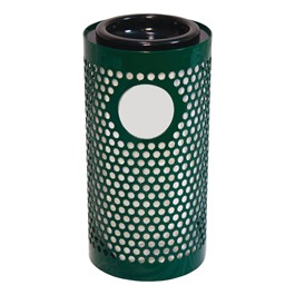 Combination Perforated Metal Waste & Ash Receptacle w/ Lid & Liner - shown in green
