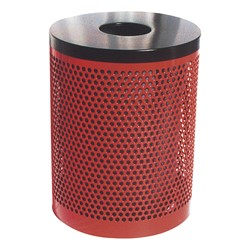 PR Series Round Perforated Outdoor Waste Receptacle (Open Flat Top optional)