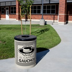 PR Series Round Perforated Outdoor Waste Receptacle - shown w/ customized logo