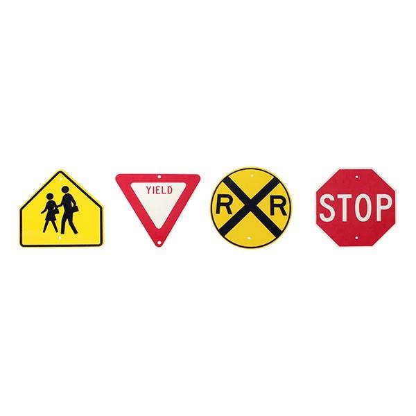 Trike Path Traffic Sign - Set of Four - Stop, Yield, Railroad Crossing, School Zone