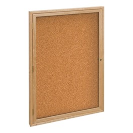 Enclosed Bulletin Board w/ One Door & Solid Oak Frame - Indoor Use