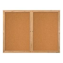 Indoor Enclosed Bulletin Board w/ Two Doors & Solid Oak Frame