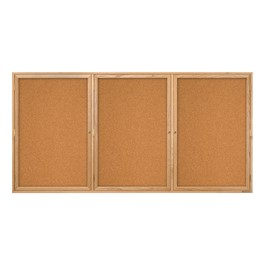 Enclosed Bulletin Board w/ Three Doors & Solid Oak Frame - Indoor Use