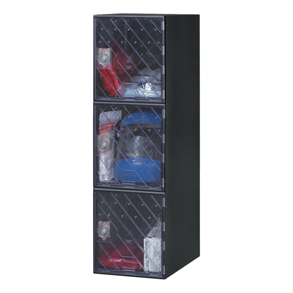 United Visual Products Secure View One-Wide Triple-Tier Clear Door Lockers