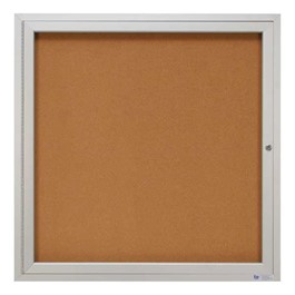 Indoor Enclosed Bulletin Board w/ One Door & Satin Aluminum Frame